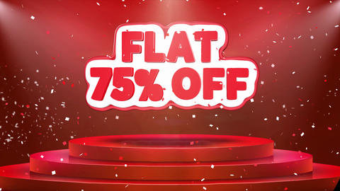 Flat 75 off Text Animation Stage Podium Confetti Loop Animation Footage