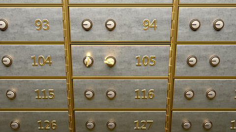 Safety deposit box with gold bars inside opened by two golden keys GIF