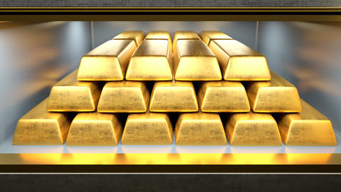 Safety deposit box with gold bars inside opened by two golden keys Animation