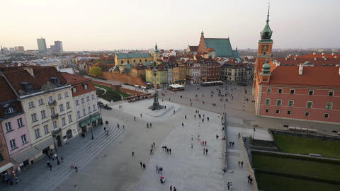 Stare Miasto square at sunset in Warsaw Footage