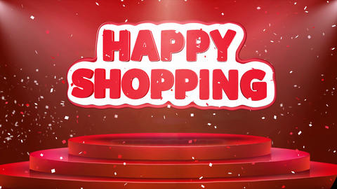 Happy Shopping Text Animation Stage Podium Confetti Loop Animation Footage