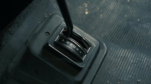 Gear Shift retro old and dirty. Close-Up Live Action