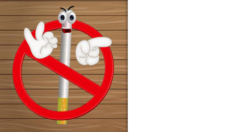 Funny no smoking sign cigarette cartoon comic illustration Videos animados