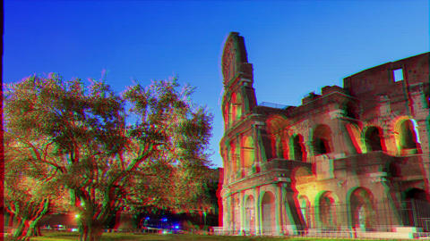 Glitch effect. Coliseum at dawn. Camera movement, Time Lapse Live Action