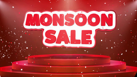 Monsoon Sale Text Animation Stage Podium Confetti Loop Animation Live Action
