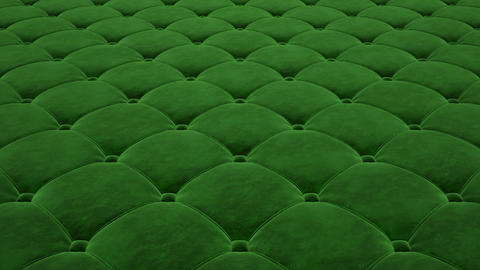 3D animation of the flight over a green quilted velvet surface. Looped video Animation