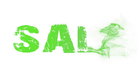 Sale inscription animation. Particle text animation. The appearance of the text of the particles Animation