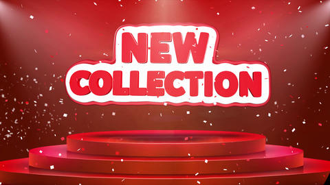 New Collection Text Animation Stage Podium Confetti Loop Animation Live Action