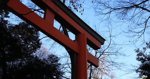 Big religious gate at Hanazono shrine in Tokyo Live Action