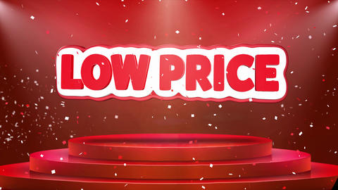 Low Price Text Animation Stage Podium Confetti Loop Animation Live Action