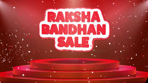 Raksha Bandhan Sale Text Animation Stage Podium Confetti Loop Animation Footage