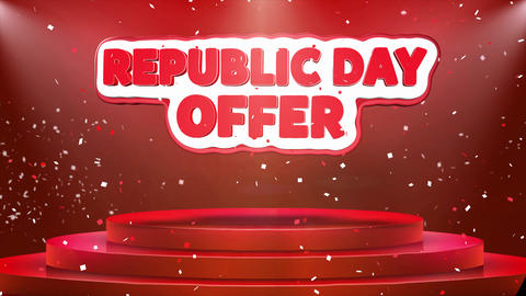 Republic Day Offer Text Animation Stage Podium Confetti Loop Animation Live Action