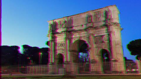 Glitch effect. Arch of Constantine. Zoom. Rome, Italy. Time Lapse Live Action