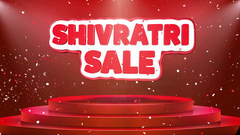 Shivratri Sale Text Animation Stage Podium Confetti Loop Animation Live Action