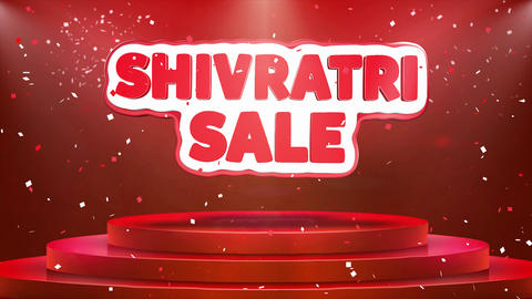 Shivratri Sale Text Animation Stage Podium Confetti Loop…, Live Action