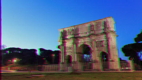 Glitch effect. Arch of Constantine. Rome, Italy. Time Lapse Live Action