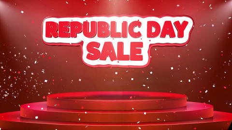 Republic Day Sale Text Animation Stage Podium Confetti Loop Animation Live Action