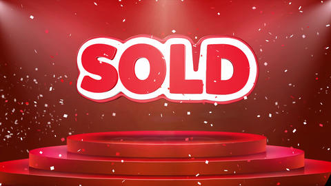 Sold Text Animation Stage Podium Confetti Loop Animation Footage