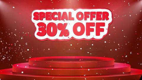 30 off Special Offer Text Animation Stage Podium Confetti Loop Animation Footage
