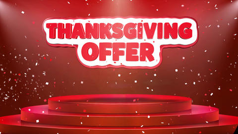 Thanksgiving Offer Text Animation Stage Podium Confetti Loop Animation Live Action