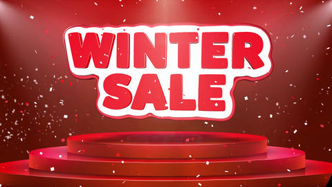 Winter Sale Text Animation Stage Podium Confetti Loop Animation Footage