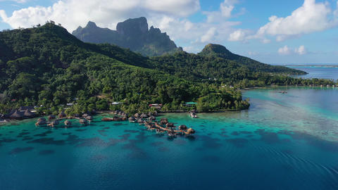 Bora Bora aerial drone video of travel vacation paradise and overwater bungalows Footage