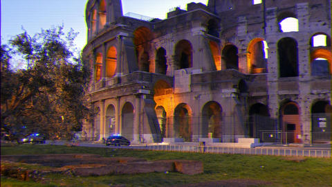 Glitch effect. Coliseum at dawn. Zoom. Rome, Italy GIF