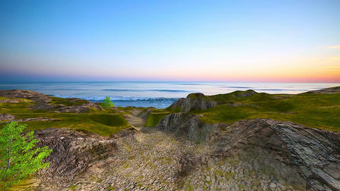 11 3D animated landscape of beach and sunset sea Animation