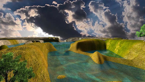07 3D animated landscape of mountain lake with sunseat Animation