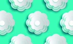 decorative white round pattern flowers and paper cut style vector illustration ベクター