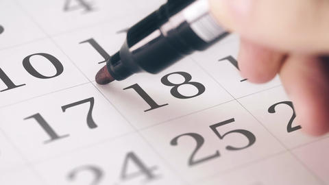Marked the eighteenth 18 day of a month in the calendar transforms into SAVE THE Footage