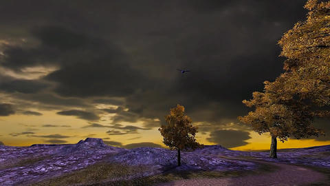 23 3D animated landscape of stormy sunset on mountain Animation