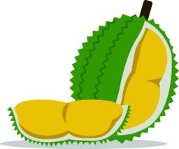 Flat Durian and cut piece vector with isolated white background.King of fruit.Tropical friut ベクター