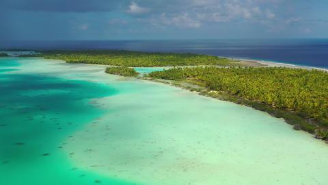 French Polynesia Tahiti aerial view of Fakarava atoll island and Blue Lagoon Live Action