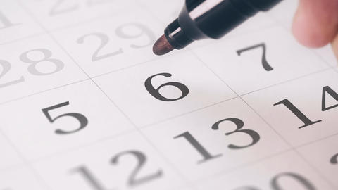 Marked the sixth 6 day of a month in the calendar... Stock Video Footage