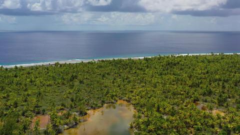 Drone video of Fakarava atoll island motu and in French Polynesia Tahiti Live Action