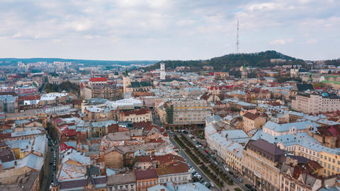 Hyperlapse of the historical center of Lviv, UNESCO's cultural heritage. Aerial Footage