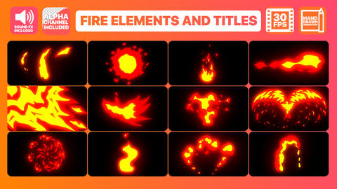 Flame Elements And Titles Motion Graphics Template