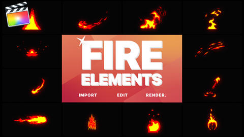 Cartoon Fire Elements Apple Motion Template