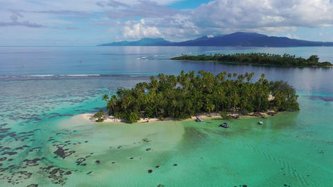 Aerial drone video from French Polynesia of Motu Mahaea, Tahaa, Tahiti Footage