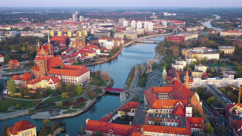 View from the height on the historic city center and the Odra River. Stare Footage