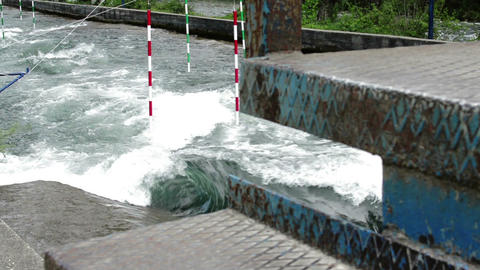 Preparing of wild river for kayak Race Stock Video Footage