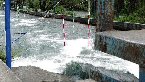 Preparing of wild river for kayak Race Footage