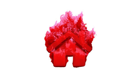 Symbol home inflames with dark fire, then burns. In - Out loop. Alpha channel Premultiplied - Matted Animation