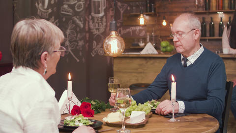 Husband and wife on a date celebrating anniversary Footage