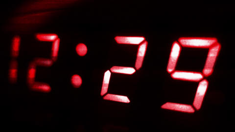 4K Digital Clock Turn to 12 30 Futuristic Design 2 Footage