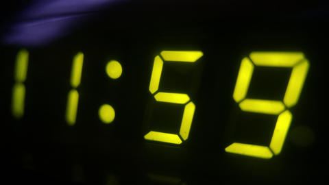 4K Digital Clock Turn to 12 Footage