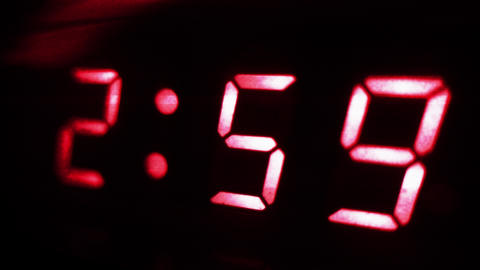 4K Digital Clock Turns to 3 Sci Fi Design 2 Footage