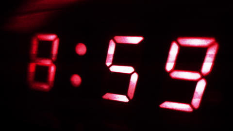 4K Digital Clock Turn to 9 Futuristic Design 2 Footage