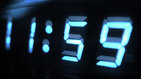 4K Digital Clock Turn to 12 Futuristic Design 1 Footage